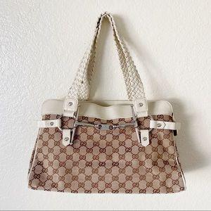 Gucci monogram canvas braided leather handbag